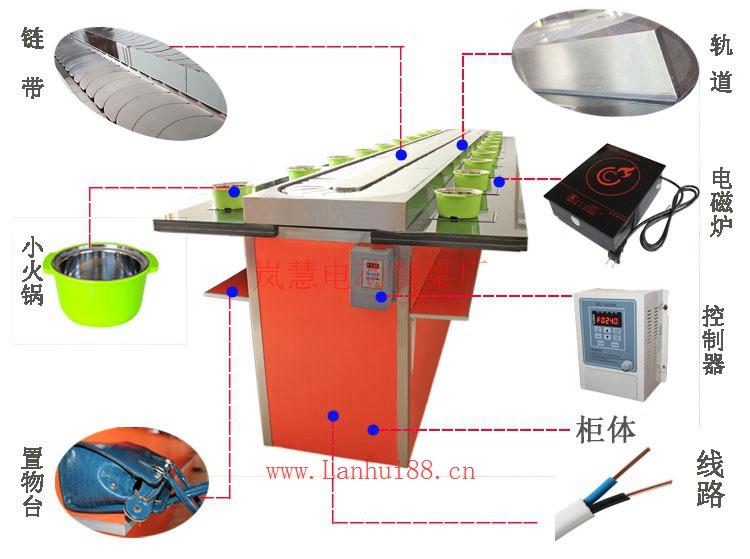 全国回转自助小火锅设备输送带餐桌订制