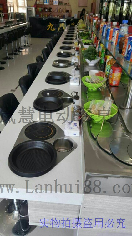 烧烤火锅一体锅,自转小火锅和烤肉一体设备,