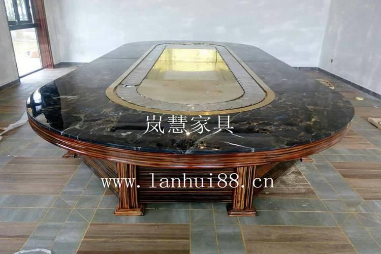 高级会所专用天然大理石输送带旋转餐桌