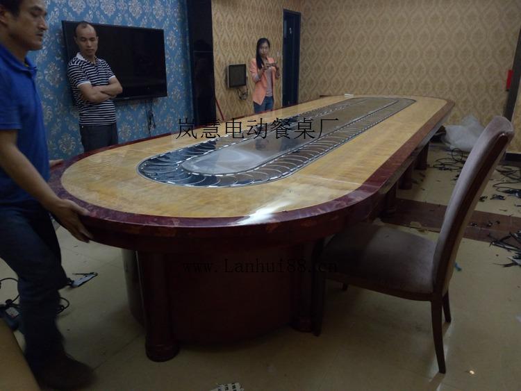 回转椭圆长形传送带电动餐桌