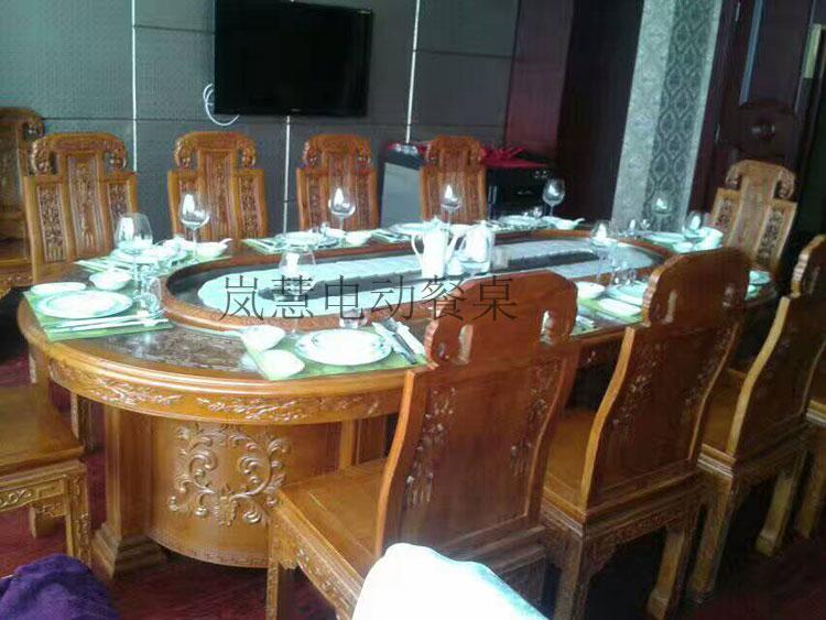 全实木雕花高档传送带餐桌图
