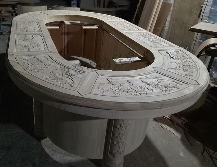 全实木雕花高档回转电动餐桌传送带椭圆桌